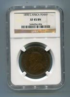 South Africa ZAR NGC Certified 1898 Kruger Penny XF 45 BN Coin