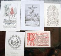 1914 LOTTO 5 CARTONCINI SOCIETA BIBLIOFILA VIEUX PAPIER