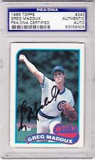 1989 Topps Signed GREG MADDUX Baseball Card PSA DNA Chicago Cubs Altanta Braves