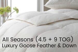 3-IN-1 DUVET GOOSE FEATHER & DOWN Luxury All Seasons Duvet SUMMER 4.5 TOG DUVET