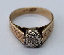 VINTAGE 9CT YELLOW GOLD DIAMOND RING SIZE J
