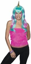 Womens Unicorn Wig Gold Horn Long Aqua Pink Rainbow Hair Halloween Costume Adult