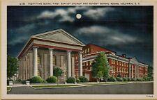 Night-Time Full Moon Scene First Baptist Church Columbia SC Postcard A17