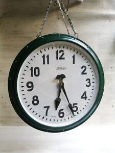 "19"" Double Sided Railway Train Station Platform Clock Industrial Loft Vntg 1960s"