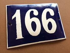 ANTIQUE VINTAGE FRENCH ENAMEL SIGN HOUSE NUMBER 166 DOOR GATE SIGN BLUE 1950's