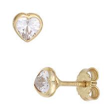 Echter Ohrschmuck aus Gelbgold mit Zirkon-Perlen für Damen