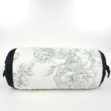 Lenox Moonlit Garden Black White Neckroll Down Throw Pillow Bedding Decor Floral
