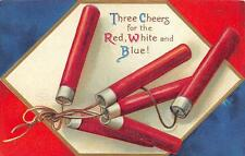 JULY 4TH HOLIDAY FIRECRACKERS EMBOSSED PATRIOTIC POSTCARD (c. 1909)