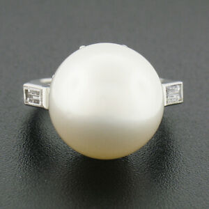 Vintage Platinum GIA 14mm Saltwater White Pearl Solitaire Baguette Diamond Ring