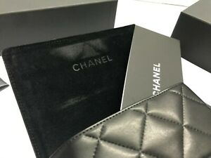 Chanel Case Black Eyeglass Sunglasses Leather Italy Case CHANEL Soft Case