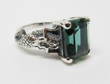 Emerald Mermaid Ring Sterling Silver Vintage Fantasy May Birthstone Boxed Sz 9
