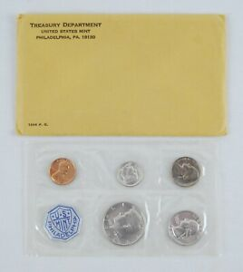 1964 United States Mint Silver Proof Set 5 Coins in Cellophane w/ Gov. Package