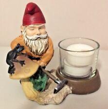 Garden Gnome Elf Frog Mushroom resin Tea light Candle Holder Figurine Partylite