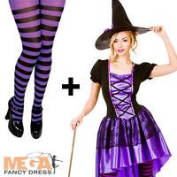 Glamorous Witch + Tights Ladies Halloween Fancy Dress Adults Womens Costume New