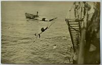 Vintage Real Photo Post Card RPPC 2 Men Diving Off Dock Lake Ocean Gay Interest