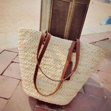 Damen Stroh Strand Tasche Tote Schulter Korb Einkaufen Handtasche Ferien Reise