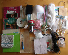 Lot of Sewing/Craft Supplies, Notions - Ribbon, Books, Buttons, Elastic, Zippers
