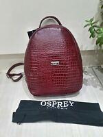 Osprey London Patent Leather Moc Croc 'Madison' Backpack Rucksack Oxblood Red