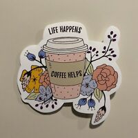 Life Happens Coffee Helps Sticker - Coffee Sticker - Life Happens - Cute Sticker