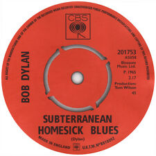 Bob Dylan. Subterranean Homesick blues record label sticker