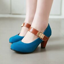 Women Casual Mary Jane Shoes Ankle Buckle Pumps Heel Heel Round Toe Sandals