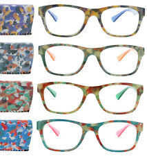 Womens Reading Glasses Square Frame Colorful Spring Hinge Readers with Case