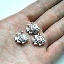 10X Tibetan Silver 3D Fish Charm Pendant For DIY Earrings/Bracelet/Necklace