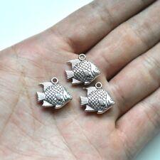 10X Tibetan Silver 3D Fish Charm Pendant For DIY Earrings/Bracelet/Necklace