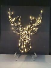 "Led lighted Deer on canvas 13 3/4""×13 3/4""."