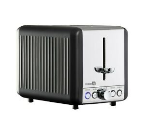 Homiu Cambridge 2 Rebanada Toaster Acero Inoxidable 6 Cubiertos 850W Bagel Y Pan