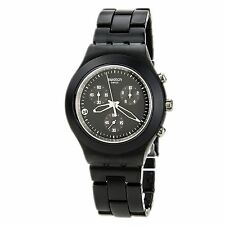 New Swatch Irony Full Blooded Smoky Black Chrono Date Watch 43mm SVCF4000AG $160