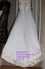 DAVID'S BRIDAL MICHAEL ANGELO IVORY 2 TONE /  WEDDING DRESS SIZE 14 / SO ELEGANT