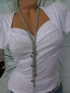 Lange Hals Kette Modeschmuck silberfarben mit Steinchen (102)