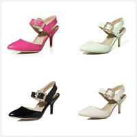 Ladies Pointed Shoes Med Heels Ankle Strap Pumps Slingbacks Sandals US Size S907