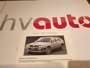 Lancia Delta Integrale 8V Betriebsanleitung deutsch original neu! NOS! manual