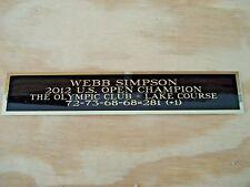 Webb Simpson Nameplate For A 2012 U.S. Open Golf Flag Case Or Scorecard 1.5 X 6