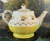 "Vintage Ellgreave England Ironstone ""Yellow Roses"" Teapot Gold Trim"