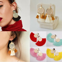 Bohemian Alloy Rope Straw Tassel Drop Dangle Long Fringe Earrings Women Jewelry
