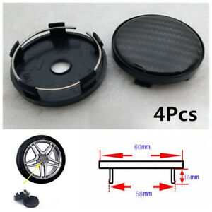 4X 60*58mm Universal Carbon Fiber Surface Auto Wheel Center Hub Caps Cover Solid