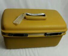 VTG Samsonite Saturn II Train Case Yellow Gold Travel Make Up Case with Mirror