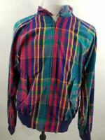 VTG  Polo Ralph Lauren Mens L Multicolor Plaid Harrington Bomber Jacket Zip Up