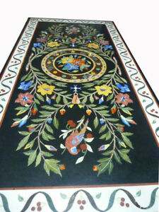 "72"" x 48"" Marble dining Table Top Handmade Inlay art Work Home Decor"