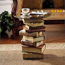 Glass Top Stacked Books Sculptural Table Small Round End Living Room Side Accent