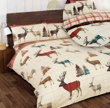 Art Woodland Stag Carreaux Réversible Housse de couette King Size Rouge