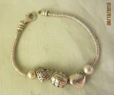 """CGC STERLING SILVER 7 3/4"""" MESH BRACELET W/ 3 CHARMS (2 HEARTS) & 2 BALL STOPS"""
