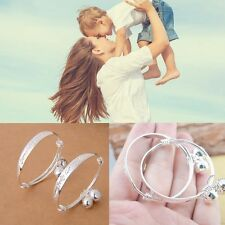 1Pair Love Jewelry Baby Bracelet Bell Bangle Silver Plated