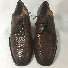 Johnston Murphy Brown Leather Woven Oxford Dress Shoe Weave Mens 9 M Casual