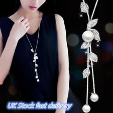 Women Elegant Pearl Crystal Sweater Chain Long Pendant Necklace Fashion Jewelry