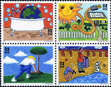 1995 32c Earth Day/Kids Care, Block of 4 Scott 2951-54 Mint F/VF NH