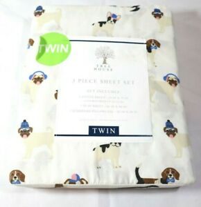 3 Piece Twin Bed Sheet Set Multibreed Dogs Beagle, Frenchie, Pug, Eco Packaging
